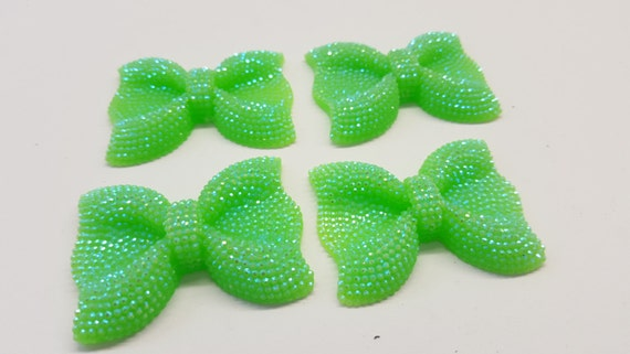Peridot Green AB Large Flat Back Chunky Resin Rhinestone Embellishment Bows C15