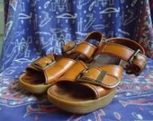 RESERVED for Sarah dont buy Vintage 70s FAMOLARE Strappy Wedge Sandals sz 6.5/7