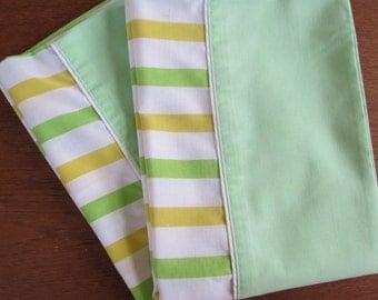 "Vintage Pillowcase Pair - Yellow & Green Stripe by Cannon Monticello - 29"" x 20"" No Iron Muslin"