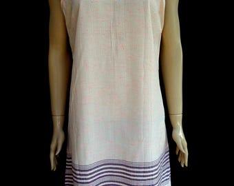 Women's pink dots patterned super soft cotton strapped summer dress, beach dress, tunic, summer nightie, cotton slip dress.