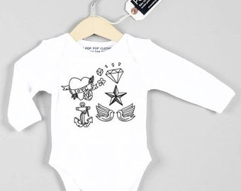 Vintage Tattoo graphic baby grow