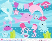 80% OFF - INSTANT DOWNLOAD, girls ocean clipart or ocean vectors for personal and commercial use