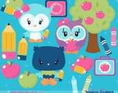 INSTANT DOWNLOAD - School Owl Clipart and Vectors for personal and commercial use