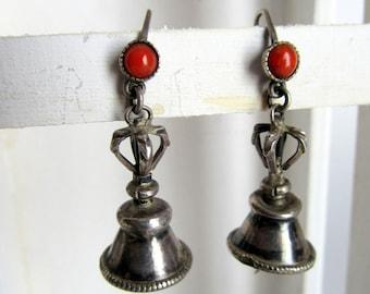 Vajra Bell Tibetan Earrings.