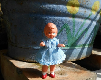 Vintage 3,5 inch doll, little german doll original clothes, dollhouse doll, rubber doll, baby blue dress, collectible mini doll Germany
