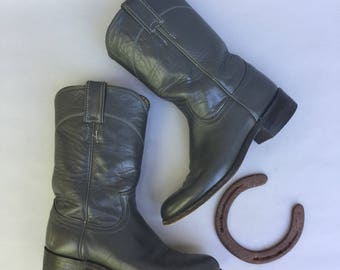 Vintage JUSTIN Grey Leather Western Boots sz 6