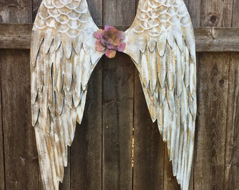 Angel Wings Wall Decor - White Shabby Chic Metal Wings- Victorian Wall Decor