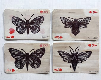 Butterflies and Moths Original Artwork on Vintage Playing Cards