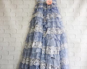 periwinkle & white tiered lace chiffon boho wedding dress by mermaid miss Kristin