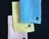 Pure Linen Hankies - Pastels - Pink, Yellow, Blue - Variety of Three - Original Tags