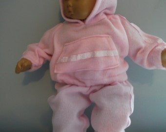 15 or 16 inch Bitty Baby outfit, pink sweat suit, super soft hoodie and matching pants by Project Funway on Etsy
