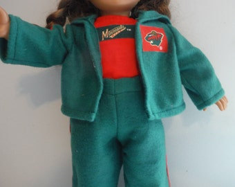 18 inch doll Minnesota Wild 3 piece sweat suit, sweat pants, top and hooded jacket by Project Funway on Etsy