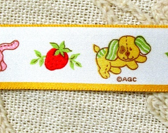 "Vintage White Satin Ribbon with Bright Yellow Doggies and Pink Kittys/Part of the Strawberry Collection 7/8"" wide; Multiple Pieces"