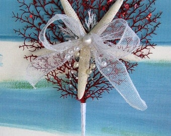 Red Coral Starfish Christmas Tree Topper~Coastal Christmas Tree Topper