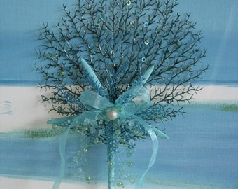 Starfish Sea Fan Glitter Christmas Tree Topper~Coastal Christmas Decor