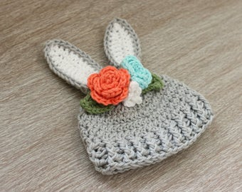 Floral crown bunny hat- newborn girl hat - baby girl bunny hat