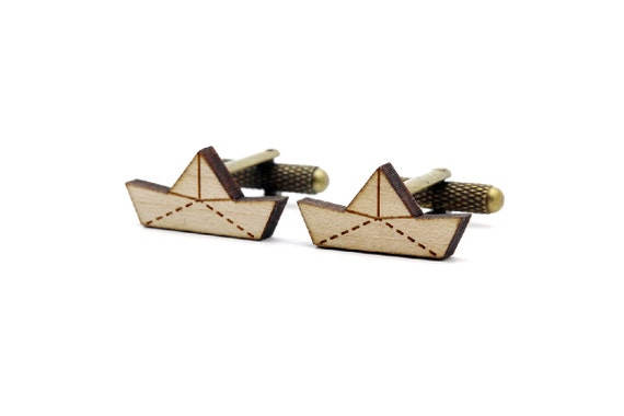 Paper boat cufflinks - origami ship cuffs - wedding accessory - lasercut maple wood - groom - bestman - graphic jewelry