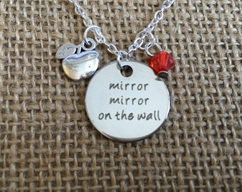 Snow White inspired charm necklace Mirror Mirror on the Wall