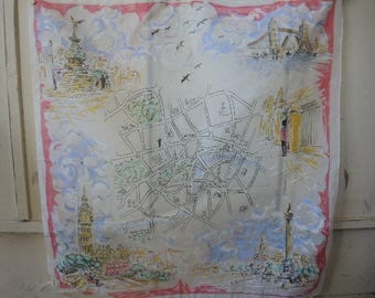 vintage sheer nylon souvenir scarf London made in Italy  25 x 26 inches
