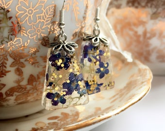 Real Purple Forget Me Not Flower Gold Flakes Dangling Earrings with Sterling Silver hooks