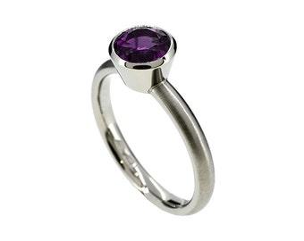 Amethyst solitaire engagement ring, bezel, palladium engagement, purple engagement, palladium, amethyst solitaire, matte, contemporary