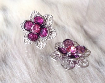 Silver Fused Floral Filigree Earrings Swarovski Crystal Fuchsia Rose Pink Rhinestone 22.5mm Titanium Post Flower Minimalist Stud Ladies Gift