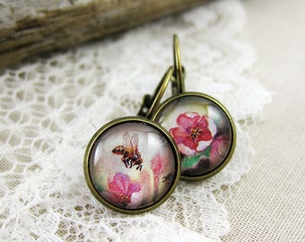 Honeybee with Pink Flowers, 1989 Russia Postage Stamp Jewelry, Bumblebee Leverback Earrings, Save the Bees, Floral, Nickel Free Silver, Gift
