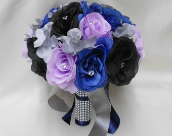 Wedding Silk Flower Bouquet Your Colors 2 pieces Lavender Black Navy blue Bride's Bouquet Silver Gray Hydrangeas Boutonniere FREE SHIPPING