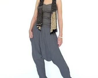 NO.162 Gray Double Gauze Cotton Unisex Harem Pants, Dropped Crotch Trousers