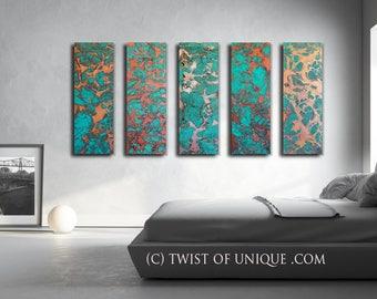 ORIGINAL Abstract Painting / Green desert turquoise / 5 painting set / 36 x 12 / Abstract Watercolor painting / rusted metal. copper, gold