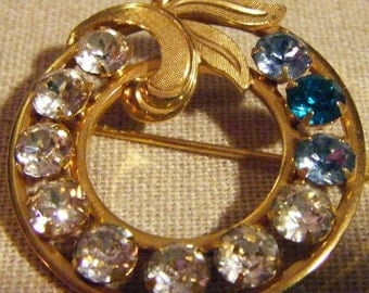 30% Off Storewide Vintage Wreath of Jewels and Gold Shades of Blue and White