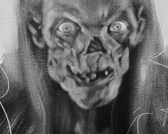 The Crypt Keeper, Tales from the Crypt, Black & White, Art, Portrait, Original Painting, Horror, Monster, halloween, Classic television