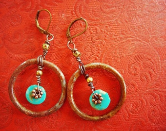 Rustic Earrings, Rusty Jewelry, Rustic Jewelry, Earthy Jewelry,  Turquoise Hoops, Turquoise, Urban, Southwestern, Shabby chic, free shipping