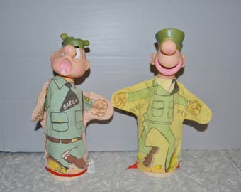 Beetle Bailey & Sarge Hand Puppets ~ Gund Toys ~ Kings Feature Character Puppets ~ Vintage Army Toy ~ Epsteam