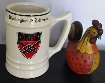 Vintage Washington Jefferson College Stein, Washington Jefferson Mug,vintage WC Bunting CO. East Liverpool oh