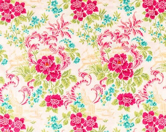 FABRIC-Hot Pink Floral Fabric by the Yard-Quilt Fabric-Apparel Fabric-Home Decor Fabric-Fat Quarter-Craft Fabric-Fat Quarters