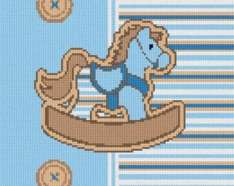 Needlepoint Kit or Canvas: Striped Horsey Blue