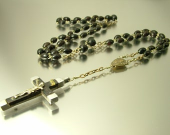 Antique vintage metal and dark wood, Catholic / Christian/ cross, rosary necklace - jewelry jewellery