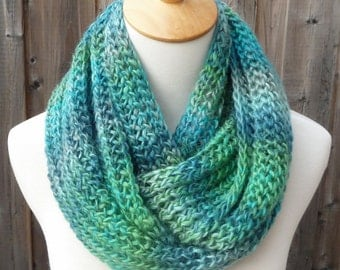Multicolor Wool Infinity Scarf - Green, Blue and Turquoise Infinity Scarf - Wool Infinity Scarf - Circle Scarf - Ready to Ship
