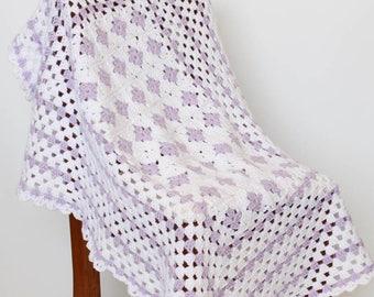 Crochet Baby Blanket Lilac & White Granny Squares - Baby Shower Gift, Nursery Decor, Newborn Blanket, Baby Afghan, Crib Bedding, Lap Blanket