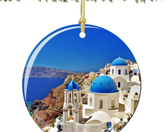Greek Islands Christmas Ornament in Porcelain Featuring Santorini Island