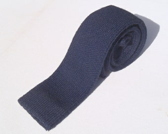 Vintage 1980s Navy Blue Wool Square End Knit Tie by Calvin Klein