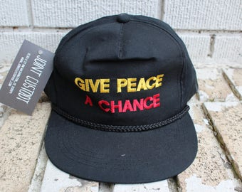 "Vintage ""Give Peace A Chance"" Snapback Hat Adjustable John Lennon The Beatles Anti-War Vietnam War"