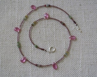 Delicate handmade AAA pink sapphire and vintage bead necklace