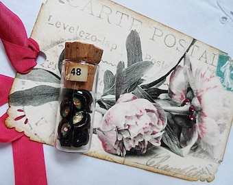 GORGEOUS XL Tag w/ Vintage Vial and 13 Black Glass Buttons Painted with Roses & Leaves ~.~
