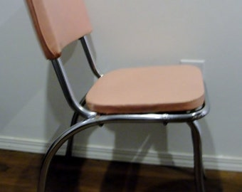 50s Pink and Chrome Kitchen Table Chair