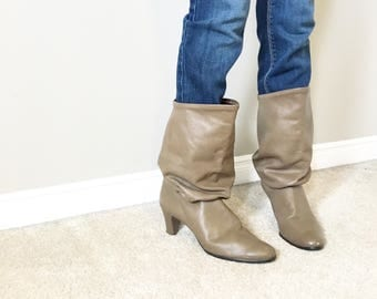 Vintage Brown LEATHER SLOUCHY EIGHTIES Boots/size 9-9.5