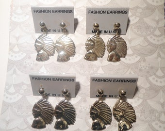 4 Pairs of Silverplated Indian Head Earrings