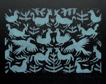 Otomi style, original linocut print, christmas gift, winter home decor
