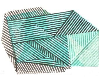 Striped Black-Blue Stone nr.2, original new geometry wall art decor, by Paulina Varregn